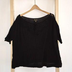 Anthropologie Crocheted Short Sleeve Blouse